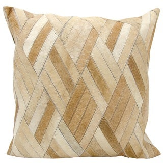 Mina Victory Natural Leather and Hide Basket Weave Beige Throw Pillow by Nourison (20 x 20-inch)