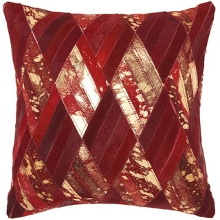 Mina Victory Natural Leather and Hide Basket Weave Burgundy/ Gold Throw Pillow by Nourison (20 x 20-inch)