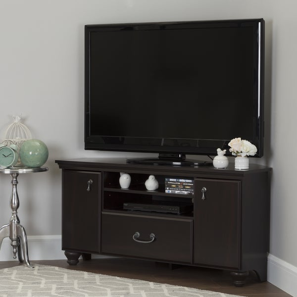 South Shore Grey Laminate Corner Tv Stand With Adjustable Shelves Free Shipping Today