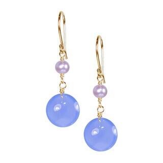 14-karat Pink FW Pearl Blue Agate Hook Earrings