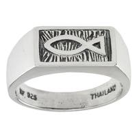 Haven Park Sterling Silver Signet Ichthus Ring