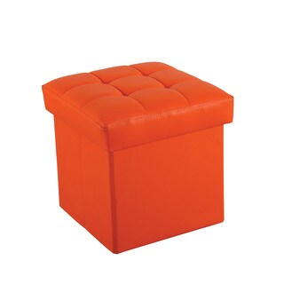 Kori 96408 Orange Faux Leather 14-inch x 14-inch x 13-inch Youth Ottoman with Storage