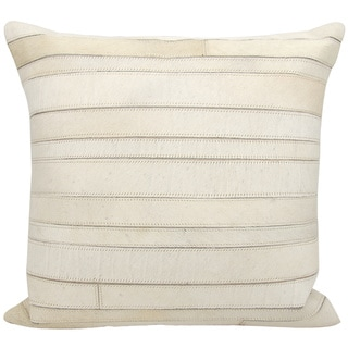 Mina Victory Natural Leather and Hide Stripes Ivory Throw Pillow by Nourison (20-Inch X 20-Inch)