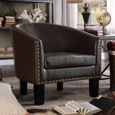 Moser Bay Furniture Isabela Faux Leather Barrel Club Chair