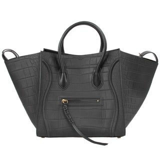 Celine Phantom Medium Black Nubuck Stamped Crocodile Handbag