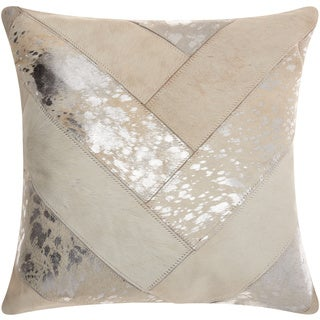 Mina Victory Natural Leather and Hide Jersey Design White/ Silver Throw Pillow by Nourison (20 x 20-inch)