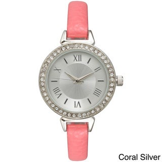 Olivia Pratt Women's Rhinestone-Accented Leather Classic Inspired Watch
