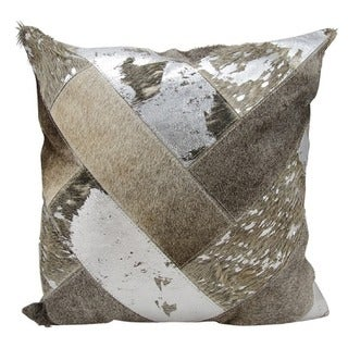Mina Victory Natural Leather and Hide Jersey Design Silver/ Grey Throw Pillow by Nourison (20 x 20-inch)