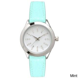 Olivia Pratt Women's Petite Leather Watch with Rhinestone Accents (Option: Mint)