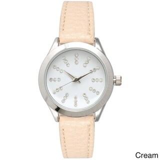 Olivia Pratt Women's Petite Leather Watch with Rhinestone Accents