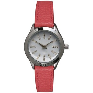 Olivia Pratt Women's Petite Leather Watch with Rhinestone Accents
