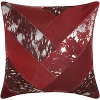 Mina Victory Natural Leather and Hide Jersey Design Burgundy/ Silver Throw Pillow by Nourison (20 x 20-inch)