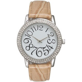 Olivia Pratt Women's Tan Leather/Stainless Steel Rhinestone Watch