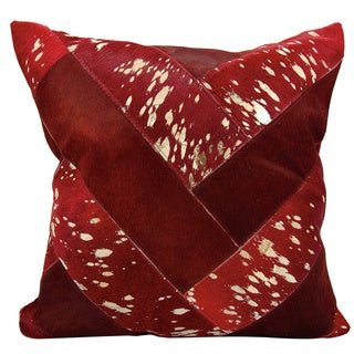 Mina Victory Natural Leather and Hide Jersey Design Burgundy/ Gold Throw Pillow by Nourison (20 x 20-inch)