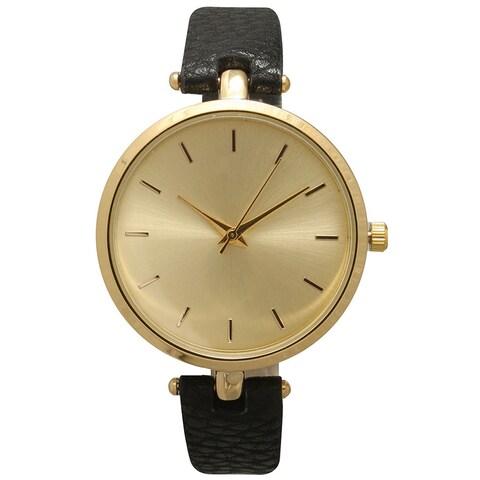 Olivia Pratt Multicolored Mineral/Leather/Stainless Steel Women's Simple Elegant Minimalist Watch