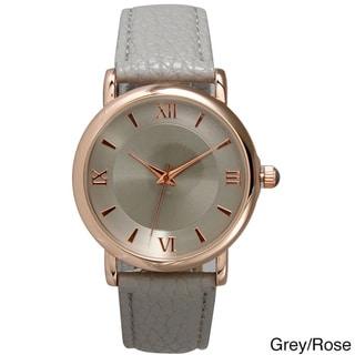 Olivia Pratt Women's Simple and Sleek Roman Numeral Leather Watch
