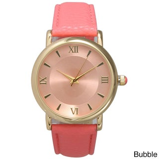 Olivia Pratt Women's Simple and Sleek Roman Numeral Leather Watch