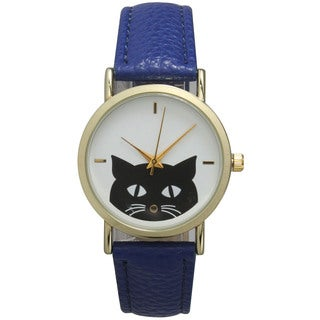 Olivia Pratts Multicolor Mineral/Leather/Stainless Steel Women's Cute Cat Face Watch