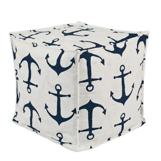 Anchors Premier Navy Slub 12.5-inch Square Footstool