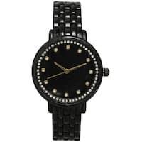 Olivia Pratt Women's Petite Rhinestone Dial Metal Cuff Watch