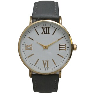 Olivia Pratt Multicolor Leather/Mineral/Stainless Steel Women's Classic Vintage-inspired Watch (Option: Grey)