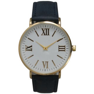 Olivia Pratt Multicolor Leather/Mineral/Stainless Steel Women's Classic Vintage-inspired Watch (Option: Blue)
