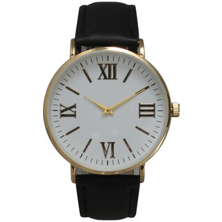 Olivia Pratt Multicolor Leather/Mineral/Stainless Steel Women's Classic Vintage-inspired Watch (Option: Black)