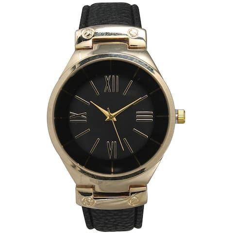 Olivia Pratt Classic Inspired Polished Metal Leather Watch