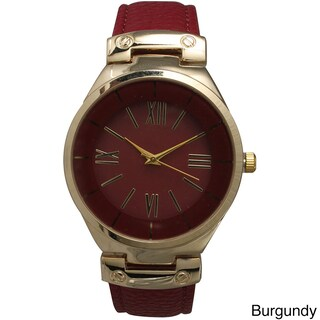 Olivia Pratt Classic Inspired Polished Metal Leather Watch (Option: Burgundy)