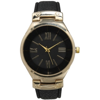 Link to Olivia Pratt Classic Inspired Polished Metal Leather Watch Similar Items in Men's Watches