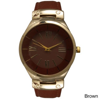 Olivia Pratt Classic Inspired Polished Metal Leather Watch (Option: Brown)