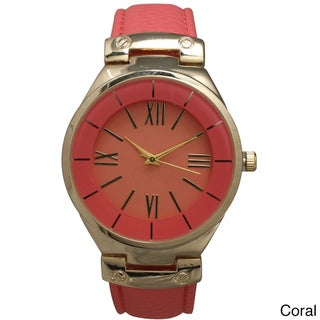 Olivia Pratt Classic Inspired Polished Metal Leather Watch (Option: Grey Rose)