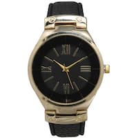 Olivia Pratt Classic Inspired Polished Metal Leather Watch