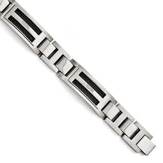 Versil Polished/Matte Black Stainless Steel IP-plated 0.05ct TW Diamond 8.75-inch Bracelet