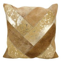 Mina Victory Natural Leather and Hide Jersey Design Beige/ Gold Throw Pillow by Nourison (20 x 20-inch)