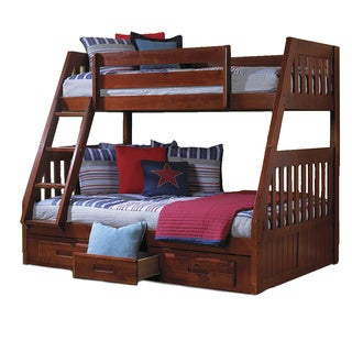 Brown Pine Wood Twin Over Full Bunk Bed With Drawers