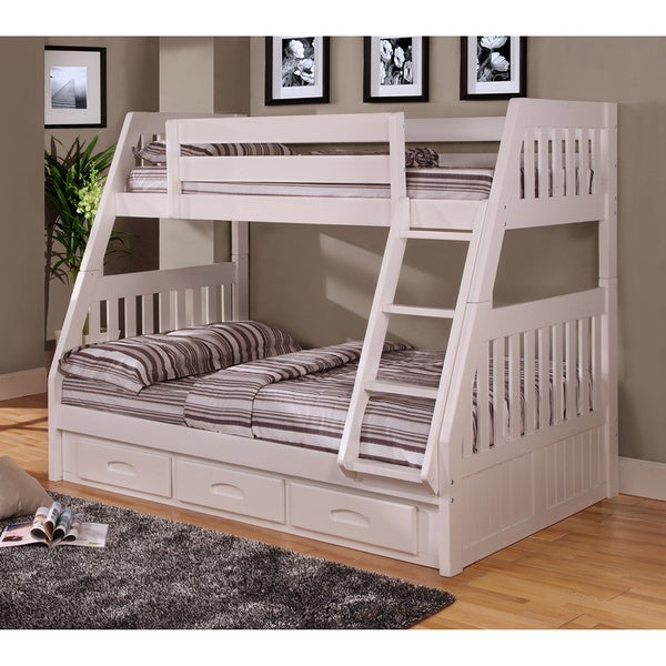 0218 Tfwm White Pine Twin Over Full Bunk Bed With 3 Drawer