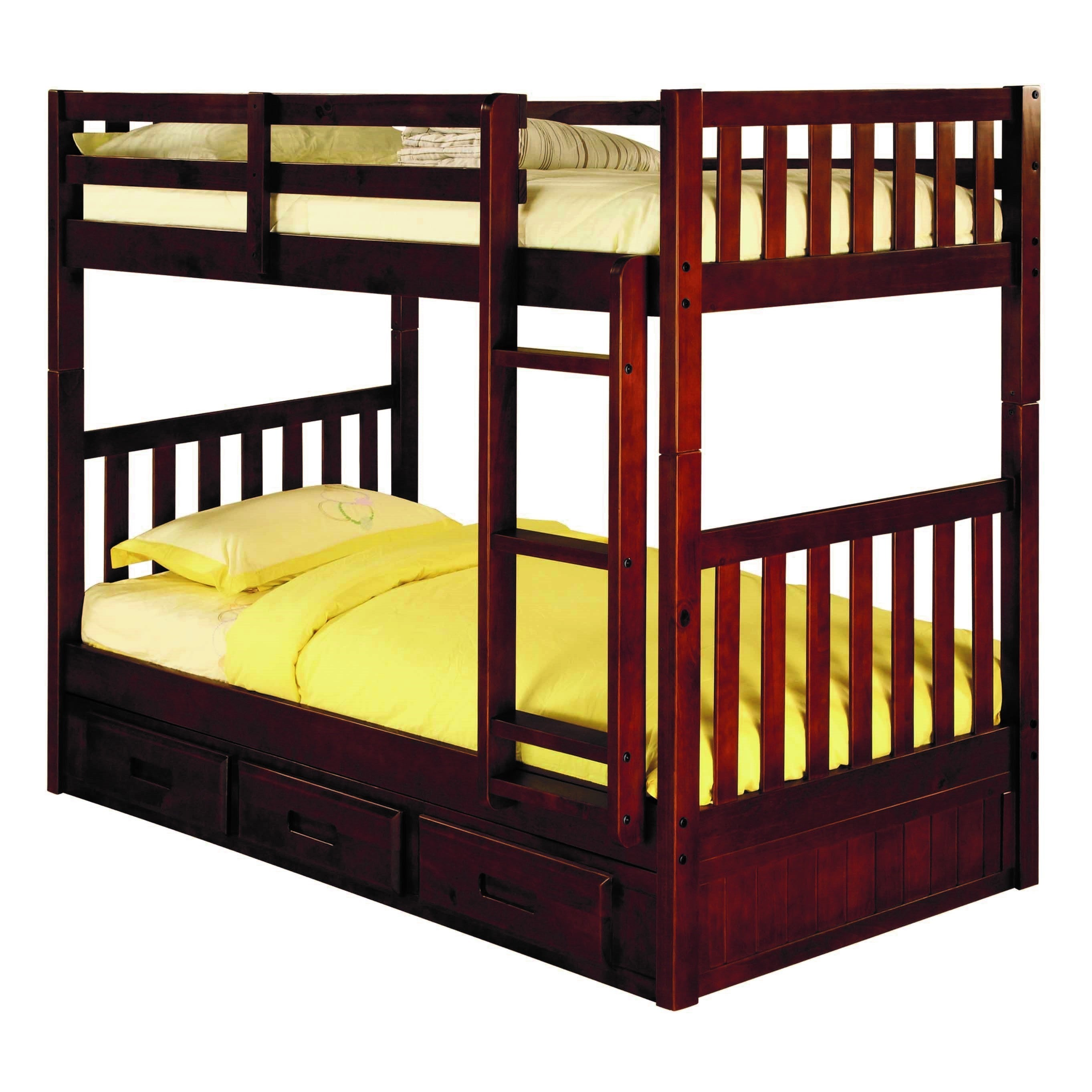 American 2810-Ttmm Brown Pine Twin over Twin Bunk Bed wit...