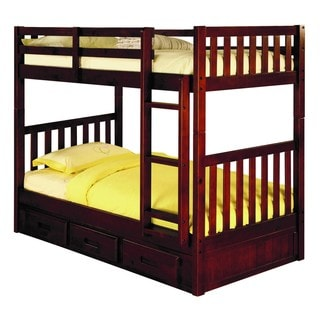 2810-TTMM Brown Pine Twin over Twin Bunk Bed with 3-drawer Underbed Storage and Mattresses Included