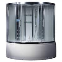 Valencia Steam Shower Sauna Tub With White Acrylic Stainless Steel and Glass Whirlpool Massage Bathtub