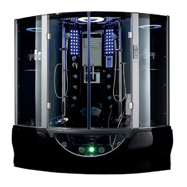 valencia steam shower sauna tub with white acrylic stainless black ebay. Black Bedroom Furniture Sets. Home Design Ideas