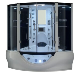 Valencia Steam Shower Sauna Tub With White Acrylic Stainless Steel and Glass Whirlpool Massage Bathtub (Option: White)