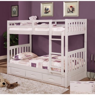 Twin-over-twin 3-drawer Bunk Bed with Two 8-inch Coil Mattresses