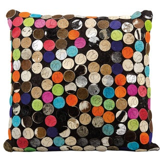 Mina Victory Natural Leather and Hide Mini Circles Multicolor Throw Pillow by Nourison (20 x 20-inch)