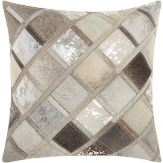 Mina Victory Natural Leather and Hide Diamonds Silver/ Grey Throw Pillow by Nourison (20 x 20-inch)