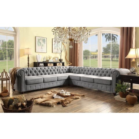 Moser Bay Furniture Garcia Collection Linen and Wood 7-seat Sectional Sofa Set