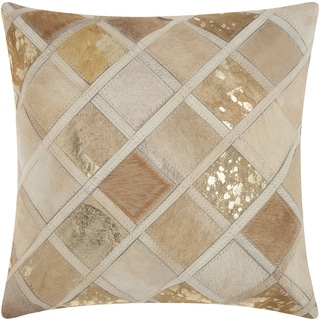 Mina Victory Natural Leather and Hide Diamonds Beige Throw Pillow by Nourison (20 x 20-inch)
