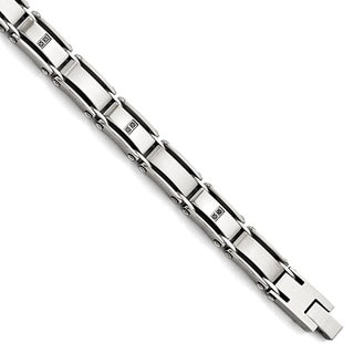 Versil Polished/Brushed Stainless Steel 1/10ct TW Diamond 8.25-inch Bracelet