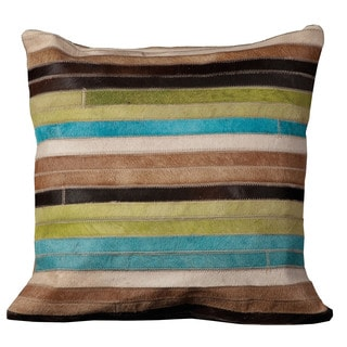Mina Victory Natural Leather and Hide Stripes Blue/ Green Throw Pillow by Nourison (18 x 18-inch)