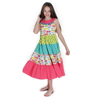 Jelly the Pug Sara Boho Girls' Cotton Woven Maxi Dress